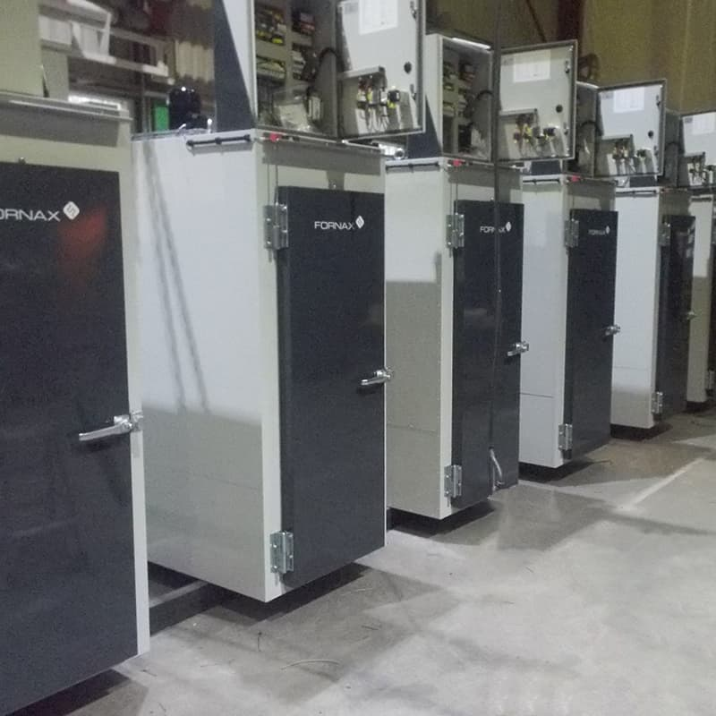 These ovens are for thermal expansion of wheels for railway carriages.