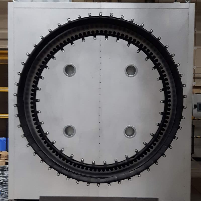 This Fornax post cure oven is for curing of composite parts: Carbon fiber, glass fiber and epoxy resin. Blades for wind turbines.